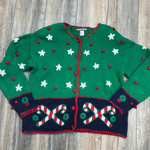 Bryn Connelly Ugly Christmas sweater candy cane
